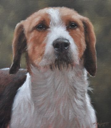 John Silver Original Oil Painting Portrait Of A Foxhound Dog